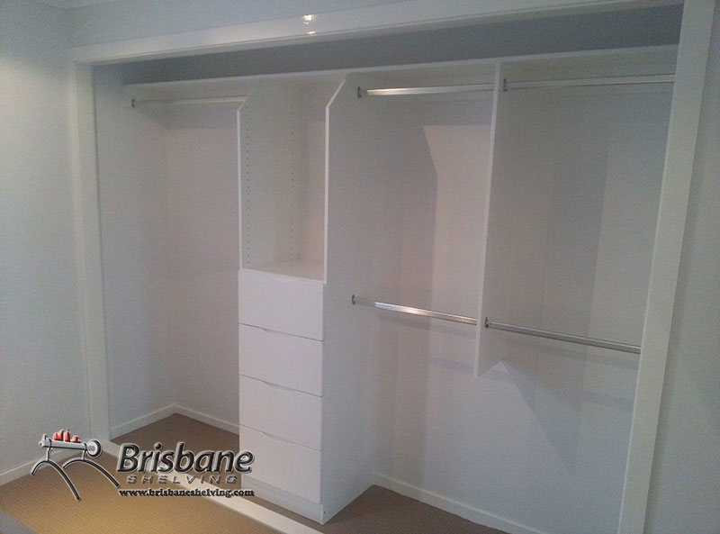 Built in wardrobe with single and double hanging