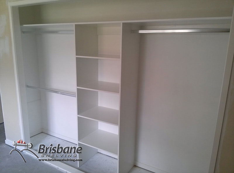 Brisbane sliding custom built out walk in flat pack white diy fixed shelving wardrobe solutioingenieria Choice Image
