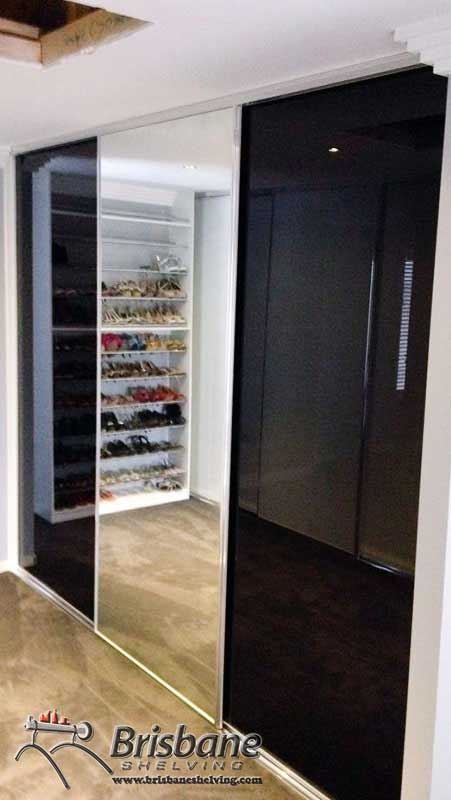 black glass sliding doors & Sliding Wardrobe Doors in Brisbane - Mirror Glass Frameless Vinyl ...